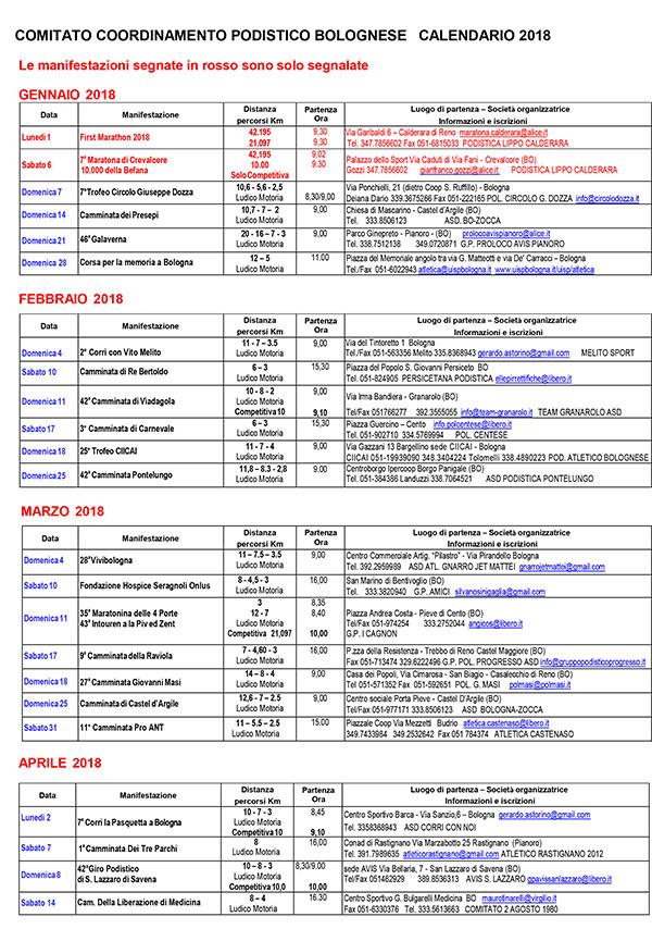 Il Calendario Del Podista.Altri Calendari Comitato Coordinamento Podistico Bolognese