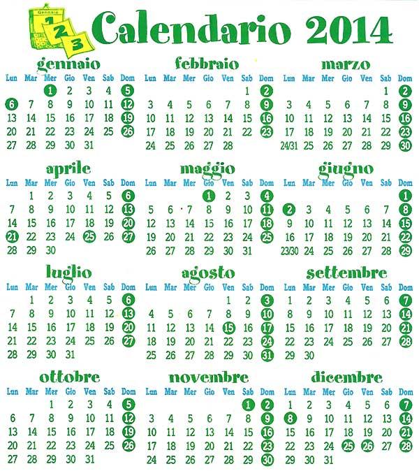 Calendario Anno 2014.Altri Calendari Calendario Civile Italiano E Calendario