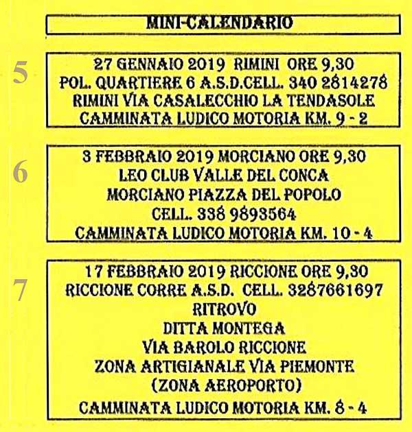 Calendario Podismo Piemonte.Altri Calendari Mini Calendario Anno 2018 2019