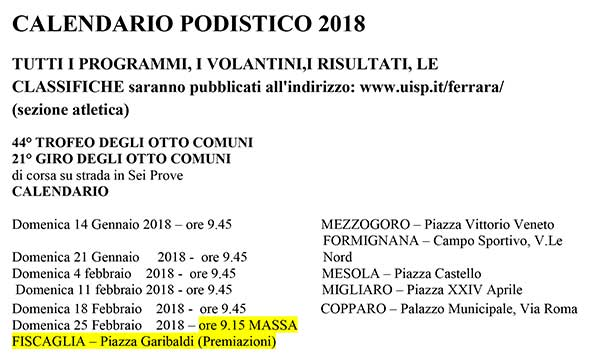 Calendario Podistico Veneto.Altri Calendari Podistico Ferrarese Uisp Anno 2018