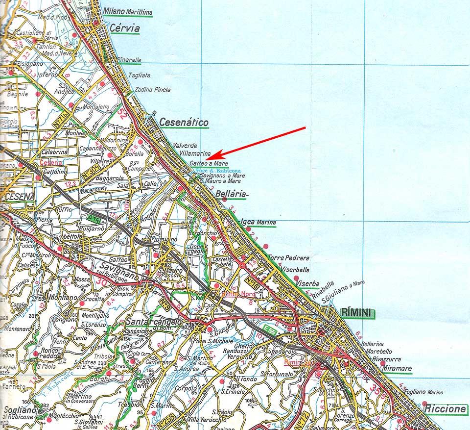 Cartina Riviera Romagnola.Varie Mappe Gatteo A Mare Gatteo Fc