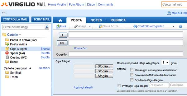 allegati virgilio mail